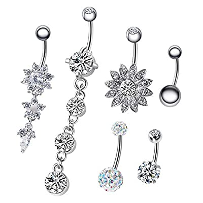 NASAMA 6PCS 14G Stainless Steel Dangle Belly Button Rings for Women Belly Piercing CZ Inlaid (Style1pcs)
