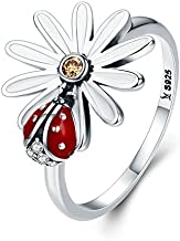 UltraSunday Unique Ladybird Flower Alice In Wonderland 925 Sterling Silver Ring Sizes 6-8 (7)