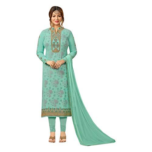ETHNIC EMPORIUM Damen Bollywood Festliche Formal Gerade Salwar Kameez Printed Georgette Anzug Dupatta muslimischen Inder 7221 43485 Wie gezeigt
