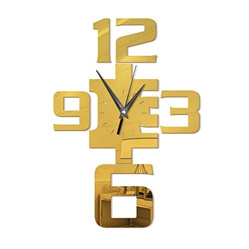 WERLM Sofa achtergronden woonkamer wandklok digitale Signage Mirror Wall Sticker Clock Quartz wandklok ideaal voor thuis keuken kantoor school ideaal voor elke kamer, 35 * 50 cm, goud