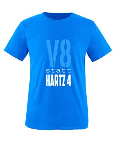 Comedy Shirts - V8 statt Hartz4 - Jungen T-Shirt - Royalblau/Weiss-Blau Gr. 86/92