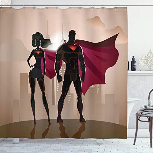 ABAKUHAUS Duschvorhang, Superheld Comic Superfrau & Mann Helden in der Stadt im Kostüm Kinderfre&liches Druck, Wasser & Blickdicht aus Stoff mit 12 Ringen Bakterie Resistent, 175 X 200 cm