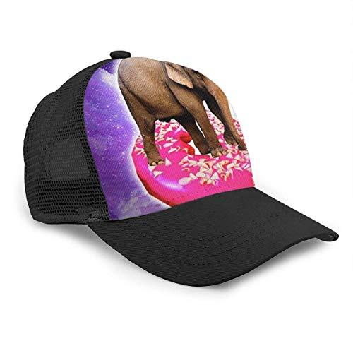 YURONG Unisex Mode Baseball Cap Elefant Reiten Donut im Weltraum Regenbogen 3D Snapback Caps Trucker Hüte Outdoor Hut für Männer Frauen