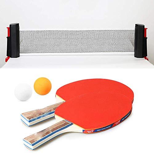 Set de tenis de mesa interior Raqueta retráctil Ping Pong Racket 2 Bolas Portátil Bolsa de almacenamiento Universal Inicio Equipo de aptitud Deportes Ejercicio Ojos Y Responsabilidad Para Niño