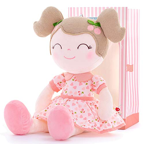 Gloveleya Baby Doll Girl Gifts Plush Toys Soft Dolls Baby Gifts Cherry Girl Pink 14 Inches with Gift Box New