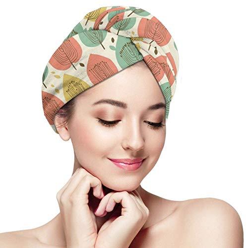 N/A Serviette à Cheveux en Microfibre Turban à séchage Rapide Bonnet de Bain Style scandinave Motif Floral dans Palette Abstrait Arbre