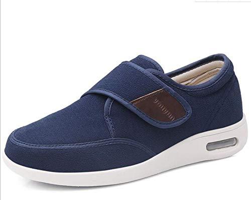 B/H Zapatos Anchos Hinchados para Hombres,Fractura de Dedo Gordo Hallux valgus Invierno Zapatos de mujer-46_Más Terciopelo Azul D,Ajustable De Velcro Zapatillas OrtopéDica