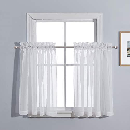 PONY DANCE Kitchen Sheer Curtains - 55 W x 36 L inches, White Linen Look Sheers Panels Cafe Tiers Small Window Valances Pocket Top Voile for Bathroom, 2 Pieces