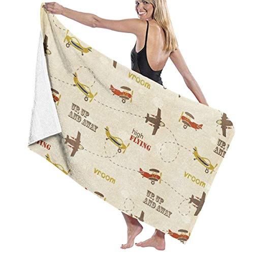 xcvgcxcvasda Serviette de Bain, 100% Polyester Velvet Beach Towels, Large Towels Washable, Flying Airplanes Lightweight, Fast Dry Super Water Absorb for Sport, Camping, Swim, Travel, 40x70 Inches