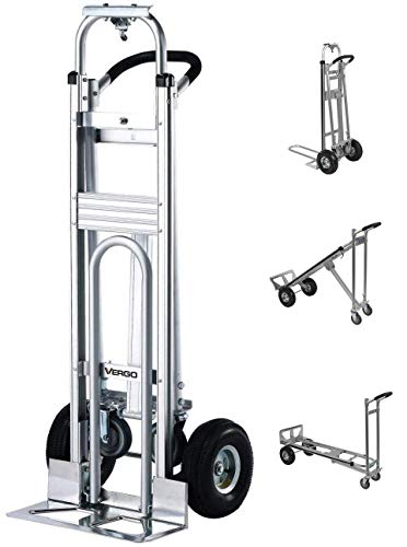 """Vergo Industrial AS7A2 Aluminum Convertible Hand Truck Dolly Cart with Loop Handle 700 lbs Capacity (3 Positions, 53"""" High)"""