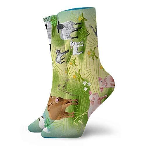 AEMAPE Calcetines Hasta La Pantorrilla,Toalla de animales de granja W Border,Calcetines Cortos Suaves Y Cómodos Calcetines Deportivos