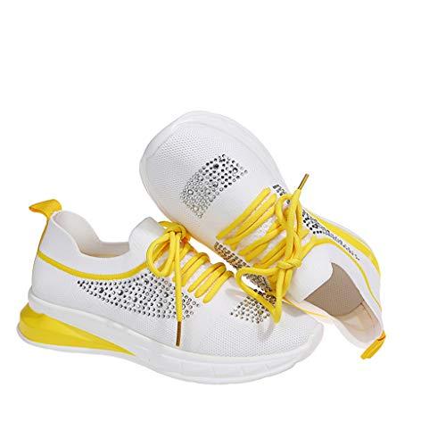 Mujeres Zapatillas de Deportivos de Running para Mujer Gimnasia Ligero Sneakers Malla Transpirable con Cordones Zapatillas Deportivas para Correr Fitness Atlético Caminar Zapatos