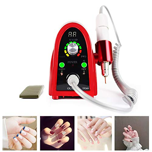 GAYBJ Electric Nail Drill, Electric Nail Drill Acrylic Nail File Manicure Pedicure Kit Finger Toe Nail Care for Acrylic Gel Nails with 6 Nail Drill Bits