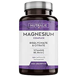 Magnesium and Vitamin B5, B6 and C | Magnesium bisglycinate and magnesium citrate 100% bioavailability | 120 capsules of 715 mg each Nutralie