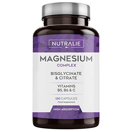 Magnesium Glycinate with Vitamin C, B5 and B6 | Magnesium Bisglycinate and Citrate 100% Bioavailable | 120 Capsules of 715mg | Nutralie