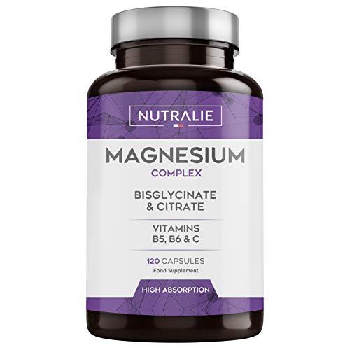 Magnesium und Vitamin B5, B6 und C | Magnesiumbisglycinat und Magnesiumcitrat 100% Bioverfügbarkeit | 120 Kapseln je 715 mg | Nutralie