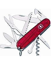 Victorinox Huntsman zakmes (15 functies, schaar, houtzaag, kurkentrekker) rood transparant