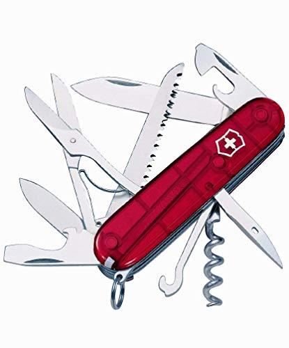 Victorinox Taschenmesser Huntsman (15 Funktionen, Schere, Holzsäge, Korkenzieher) rot transparent