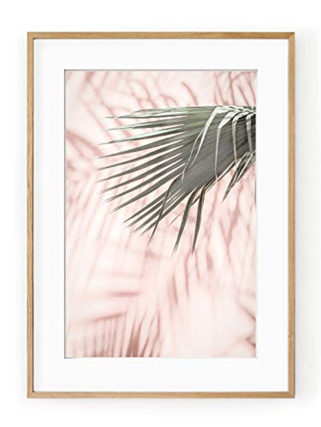 Pink Palm Satin Black Aluminium Frame with Mount, Multicolored, 40x50