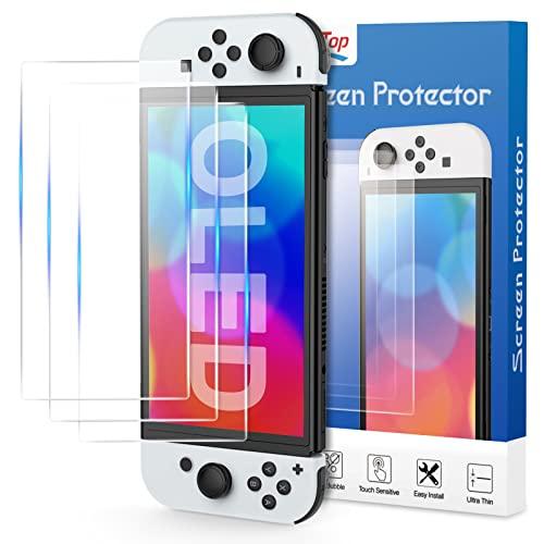 HEYSTOP Protector de Pantalla para Nintendo Switch OLED, Cristal Templado para Switch OLED Modelo Fácil Instalación, Sin Burbujas, Alta Definicion, 9H Dureza, Anti-Arañazos - 3 Piezas