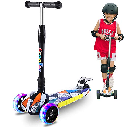 SULIVES 3 Wheel Scooter for Kids Ages 2-12 - Height Adjustable, Back Wheel Brake, Extra-Wide Deck with 4 Light-Up Wheels, Best Toy Gifts for Boys and Girls Toddler (Black)