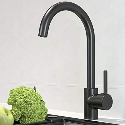 EUPYTE Grifo monomando para fregadero de cocina, giratorio 360°, de acero inoxidable, Grifo de Fregadero Negro Monomando para Agua Caliente y Fría