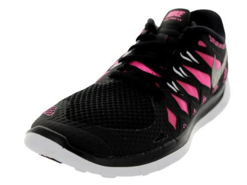 Nike Free 5.0 (GS) Running Trainers 644446 Sneakers Shoes (UK 5.5 us 6Y EU 38.5, Black Metallic Silver Pink Glow White 001)