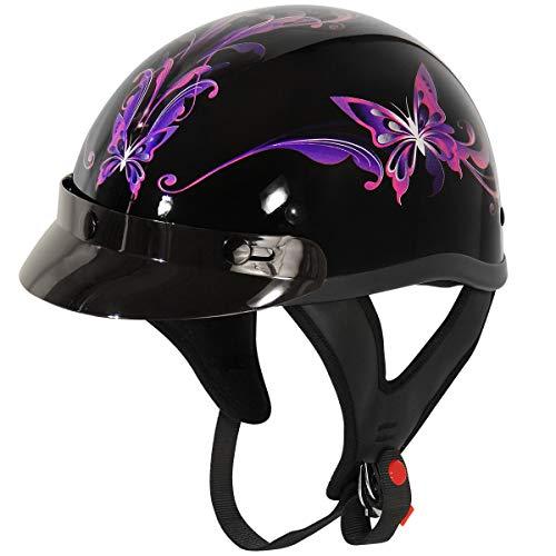 Outlaw Helmets T70 Glossy Black Purple Butterfly Motorcycle Half Helmet for Men & Women with Sun...
