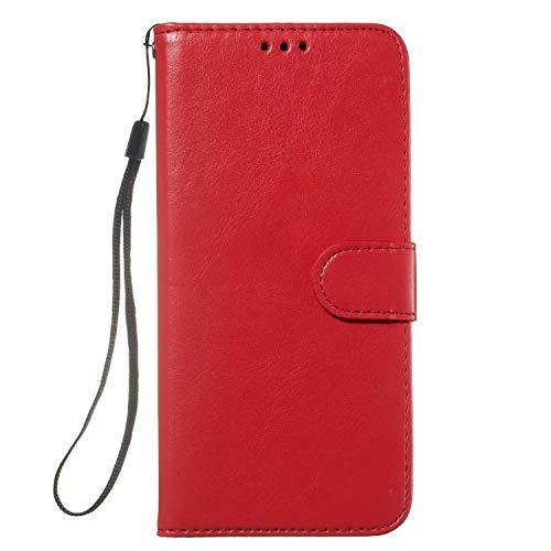 Ledertasche für Samsung Galaxy A72 Handyhülle Hülle Case PU Leder Tasche Malen Muster Flipcase Cover Silikon Schutzhülle Handytasche Skin Ständer Klapphülle Schale Bumper Magnet rot