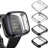 KIMILAR Funda Compatible con Fitbit Versa 2 Protector de Pantalla (NO para Versa/Versa Lite/SE), [4 Pack] Suave TPU Cubierta Cover Case para Versa 2 Smartwatch, Negro/Grafito/Plata/Claro