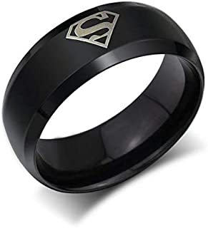 Ring for Men With Superman logo, Balck, Size 7, RS020