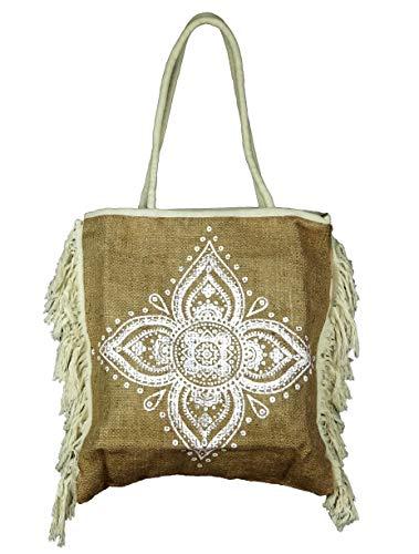 Bali PAPAYA - Bolso de mano con cesta, tela de yute, estilo étnico, vintage, artesanal, forrado bohemio para mujer, ecológico, natural, mandala flor
