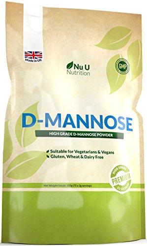 D-Mannose Pulver | 150 g (75 Portionen) | diätische Behandlung gegen Blasenentzündung und Harnwegsinfektionen, Allergenfrei und für Vegetarier und Veganer geeignet