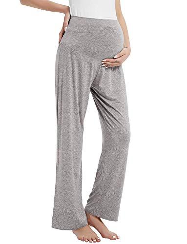 Amorbella Pantalones largos de maternidad/embarazo para mujer, pantalones largos de yoga, pijama/lounge sobre el vientre