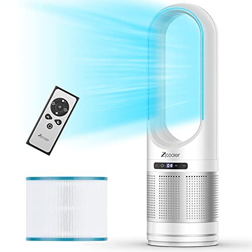 """Tower Fan, ZICOOLER 32"""" Oscillating Bladeless Fan and Air Purifier in One, 8 Speeds Tower Fan with Remote, 8H Timer, LED Display with Auto Off, Portable Quiet Cooling Fan for Bedroom, Home, Office"""