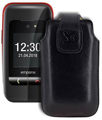 Suncase Original Tasche für Emporia ONE Hülle Leder Etui Handytasche Ledertasche Schutzhülle Hülle in schwarz