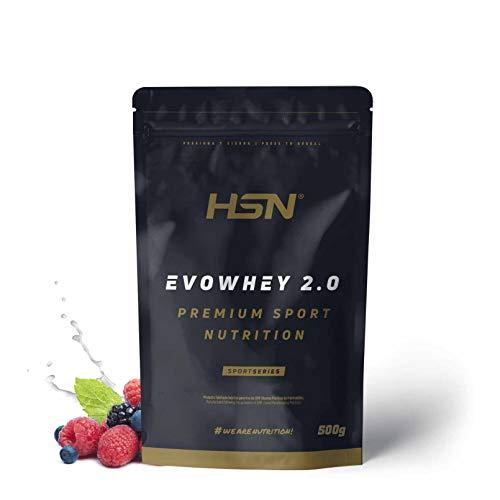 Concentrado de Proteína de Suero Evowhey Protein 2.0 de HSN | Whey Protein Concentrate| Batido de Proteínas en Polvo | Vegetariano, Sin Gluten, Sin Soja, Sabor Frutas del Bosque, 500g