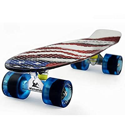 Meketec Skateboards Complete 22 Inch Mini Cruiser Retro Skateboard for Kids Boys Youths Beginners by MEKETEC
