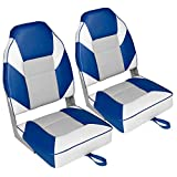 Leader Accessories A Pair of Deluxe High Back Folding Fishing Boat Seat (2 Seats) (White/Grey/Blue)