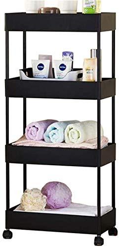 Xingdong Almacenamiento de hogar Trolley Baño Cocina Rack Sala de Estar Dormitorio con Rueda Multi-Capa Almacenamiento Rack Daily Nitsities Rack Durable (Color : Black)
