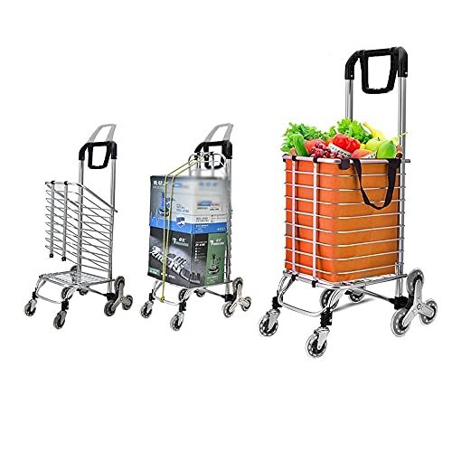 Inicio Equipo Soporte para flores Luz de estante Carrito de la compra Trolley Bolsas para supermercado y plegables con una rueda triangular Fácil de almacenar Subir las escaleras (Color: Morado) Co