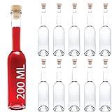 10 Leere Glasflaschen 200 ml OPI-HGK kleine Flaschen mit Griffkorken Verschluss 0,2 Liter l Likörfla…