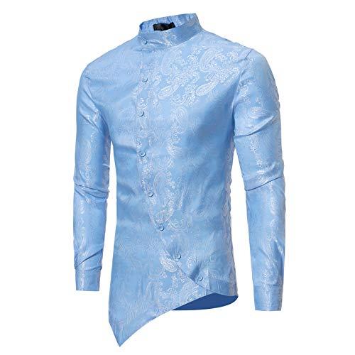 Camisa de Manga Larga para Hombre Camisa Informal con Estampado de Paisley Retro Tapeta Inclinada de Personalidad Delgada de Color sólido Large