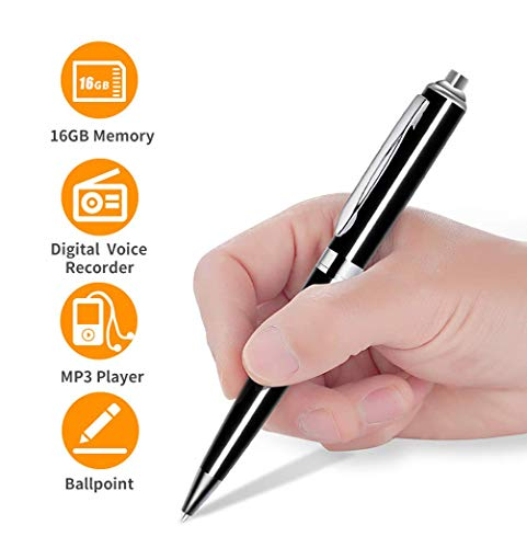 Mini Digital Voice Recorder, 16GB Audio Sound Tape Recorder for Lectures, Meeting, Classes, Speech,Portable Recording Device with Playback