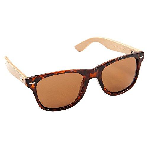 ECENCE Occhiali da Sole bambù Legno Donna Uomo Unisex Occhiali Nerd Fashion Marrone 23020107
