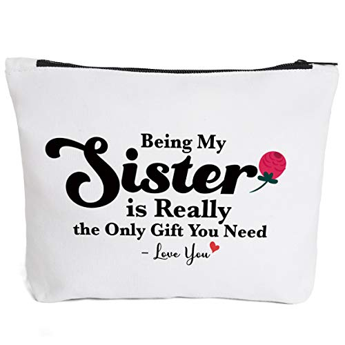 Sister Gifts for Women Funny | Funny Makeup Cosmetic Bag Cotton Zipper Pouch | Being My Sister Cosmetic Travel Bag Toiletry Make-Up Case Multifunction Pouch Gifts for Women Girls Best Friends