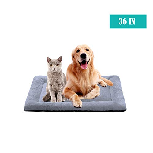 PETCIOSO Summer Super Soft Dog & Cat Crate Bed -Fluffy Pet Bed All Season-Machine Wash & Dryer Friendly-Anti-Slip Pet Beds(NOT for Chewer)(36in,Grey) Beds