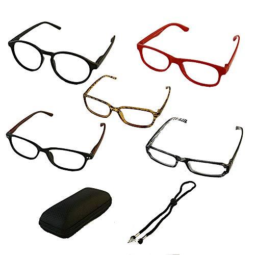 Mijo Lesebrille 5 Paare Unisex Leser Brille mit Brillenetui und Brillenschnur für Männer und Frauen (+2.5 Dioptrien)