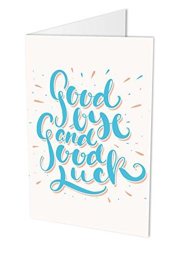 Maxi-Karte GOODBYE AND GOOD LUCK, Klappkarte DIN A4 mit Kuvert, Abschiedskarte für Kollegen oder Mitarbeiter, Zum Abschied, Verabschiedung, Ruhestand, Ausstand, Typographie