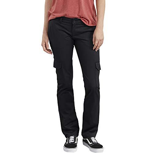Dickies Women's Stretch Twill Straight Leg Cargo Pant, Rinsed Black, 0